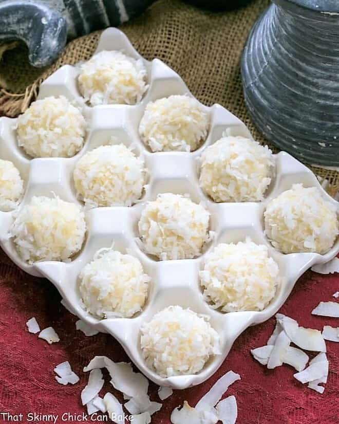 Coconut White Chocolate Truffles in a ceramic egg crate
