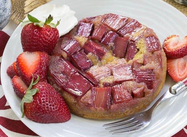 Rhubarb Upside Down Brown Sugar Cake | A seasonal French cake featuring rhubarb