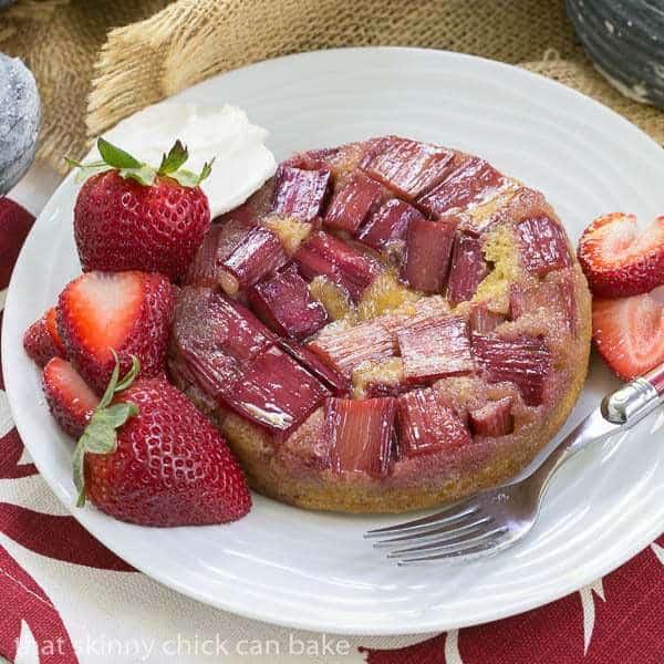 Rhubarb Upside Down Brown Sugar Cake- A seasonal French cake featuring rhubarb