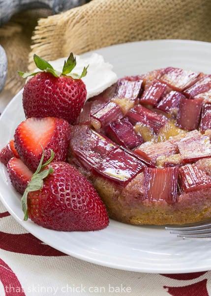 Rhubarb Upside Down Brown Sugar Cake - A seasonal French cake featuring rhubarb