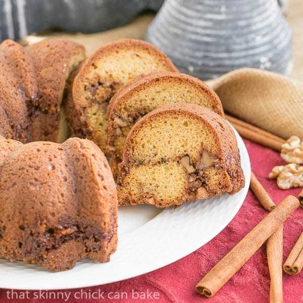 Sour Cream Streusel Coffee Cake sliced on a serving plate