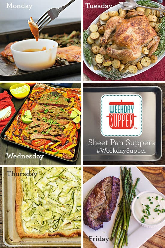 EASY, scrumptious Sheetpan Supper with chicken and mustard potatoes and more dinner ideas collage