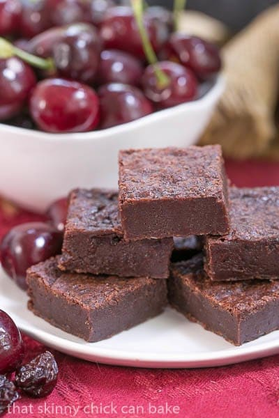 Cherry Chocolate Brownies - Super dense, fudgy and full of wine infused dried cherries