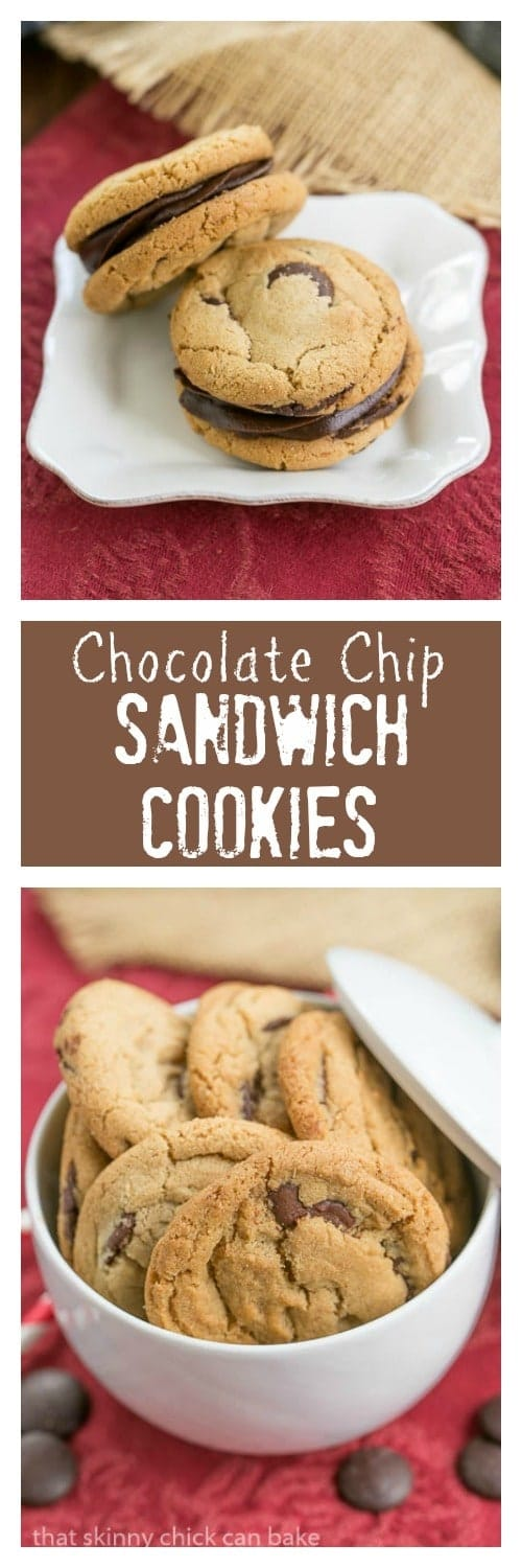 Chocolate Chip Sandwich Cookies - Chocolate chip cookies filled with a decadent, dreamy ganache!