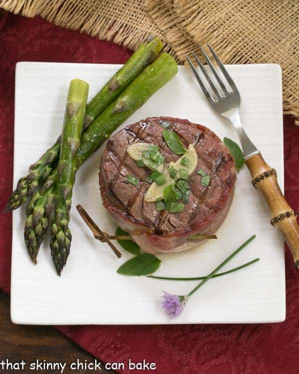 Grilled Tenderloin with Garlic Herb Butter with asparagus