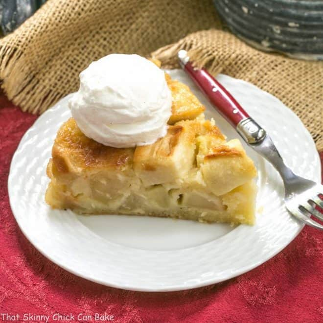 French Apple Cake slice on a white dessert plate