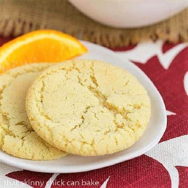 Chewy Orange Crinkles Cookies on a white plate