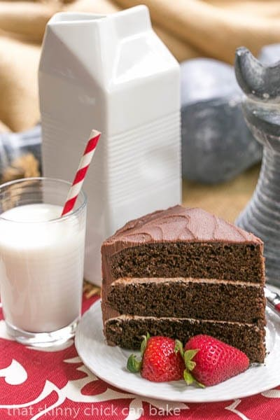 A slice of Triple Layer Chocolate Cake with Vanilla Buttercream on a white plate next to a glass of milk