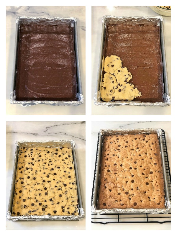 4 photos showing how to layer brookie bars