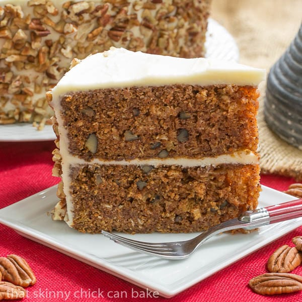 Classic Carrot Cake | Dense and full of coconut, pecans and pineapple, then topped with decadent cream cheese frosting