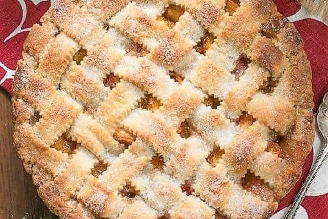 Overhead view of a Classic Peach Pie with a lattice crust