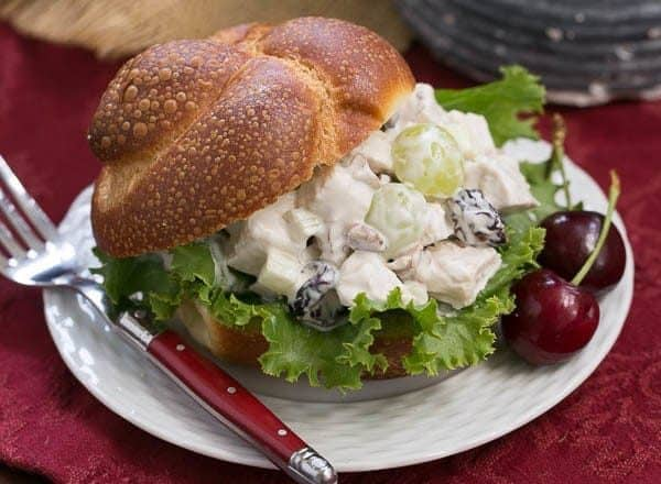 Fruity Chicken Salad | A Classic Chicken Salad jazzed up with dried cherries, grapes and pecans