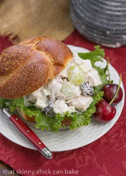Fruity Chicken Salad | A Classic Chicken Salad jazzed up with dried cherries, grapes and pecans for a Picnic Lunch