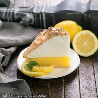 Sllice of Lemon Meringue Pie Recipe on a white dessert plate