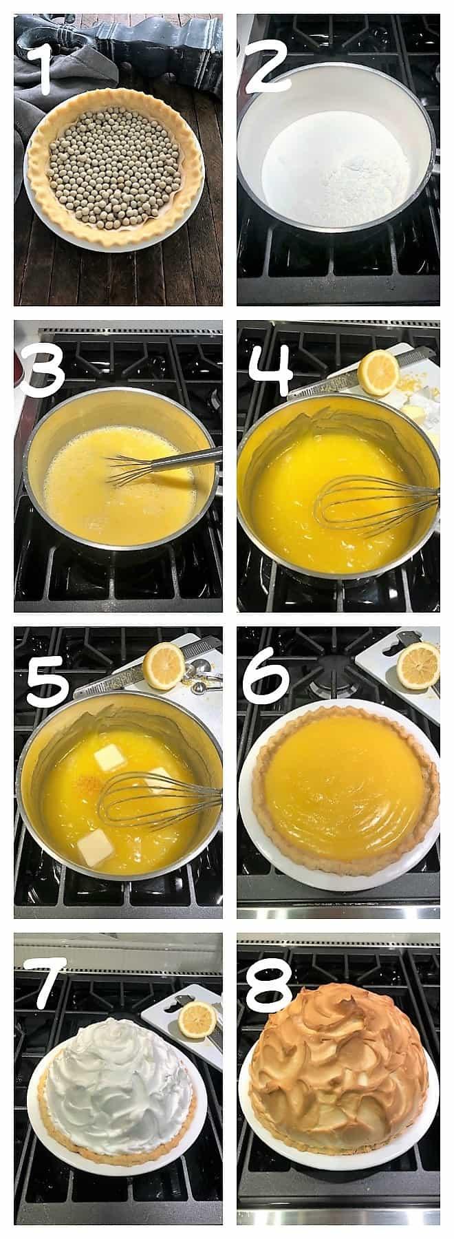 8 process shots for making a lemon meringue pie