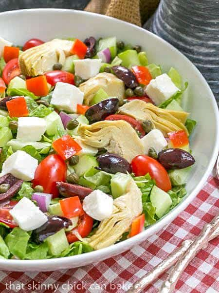 Mediterranean Chopped Salad in white serving bowl
