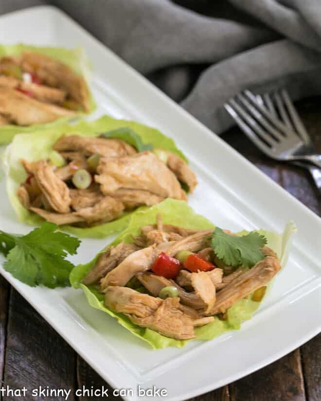 Shredded Chicken Lettuce Wraps on a white tray