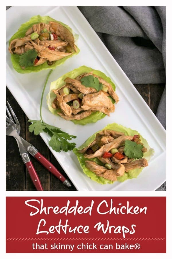 Shredded chicken lettuce wraps photo and text collage