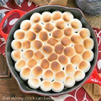 Overhead view of S'mores Dip in a red skillet