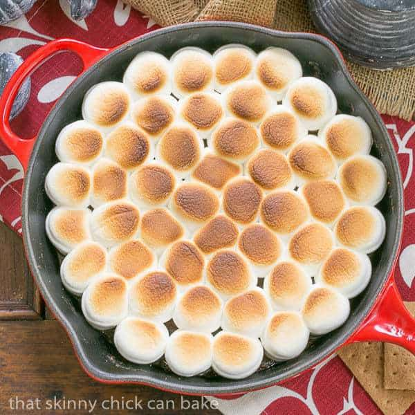 Skillet S'mores Dip viewed from above in a red skillet
