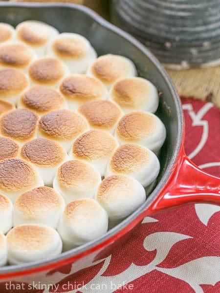 Close view of Skillet S'mores Dip in a red pan