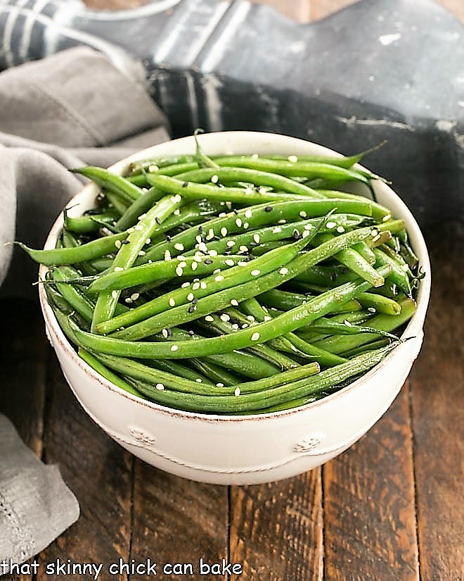 Asian Green Beans overhead view in a white ceramic bowl
