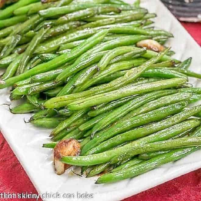 Asian Green Beans on a white platter