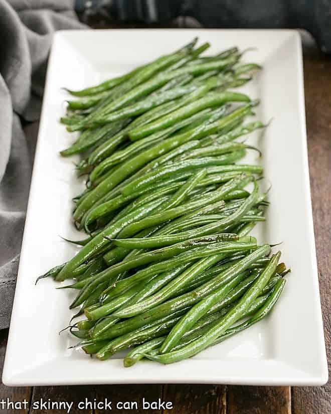 Asian Green Beans Recipe on a white ceramic platter