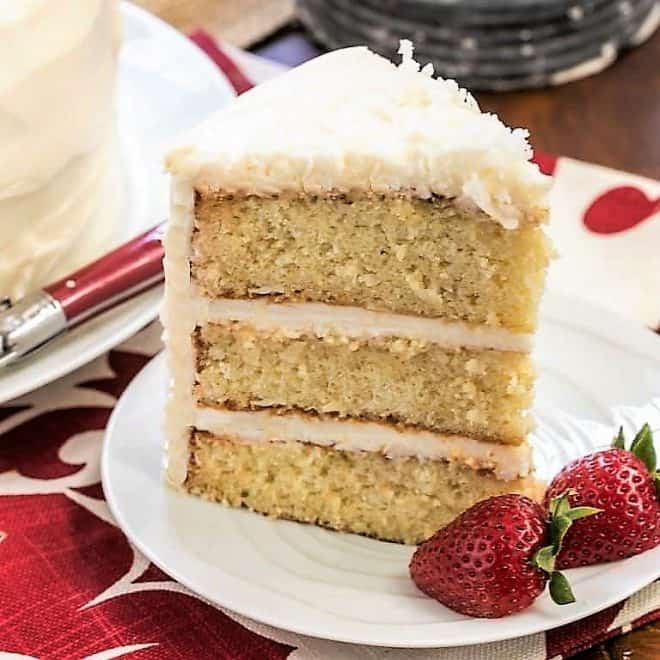Italian Cream Cake slice on a white dessert plate