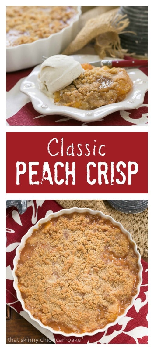 Peach Crisp | Sweetened peaches with a buttery, brown sugar crisp topping
