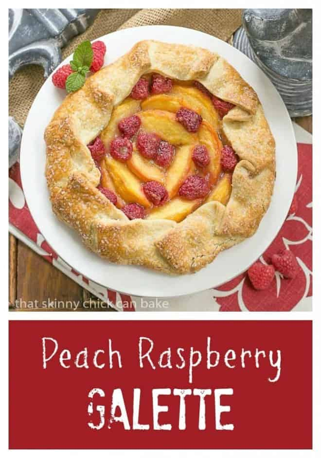 Peach Raspberry Galette | A rustic tart that's so much easier to make than pie!