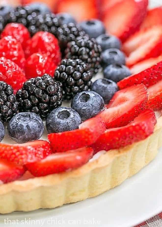 Close up shot of the fruit on this Summer Fruit Tart