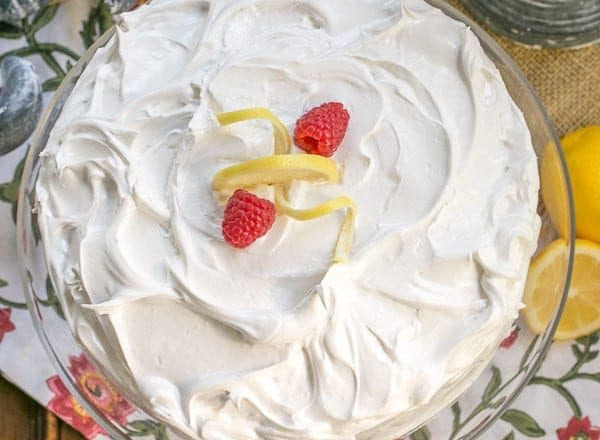 Lemon Layer Cake | 4 layers of vanilla cake filled with lemon curd and topped with a lemony Swiss meringue