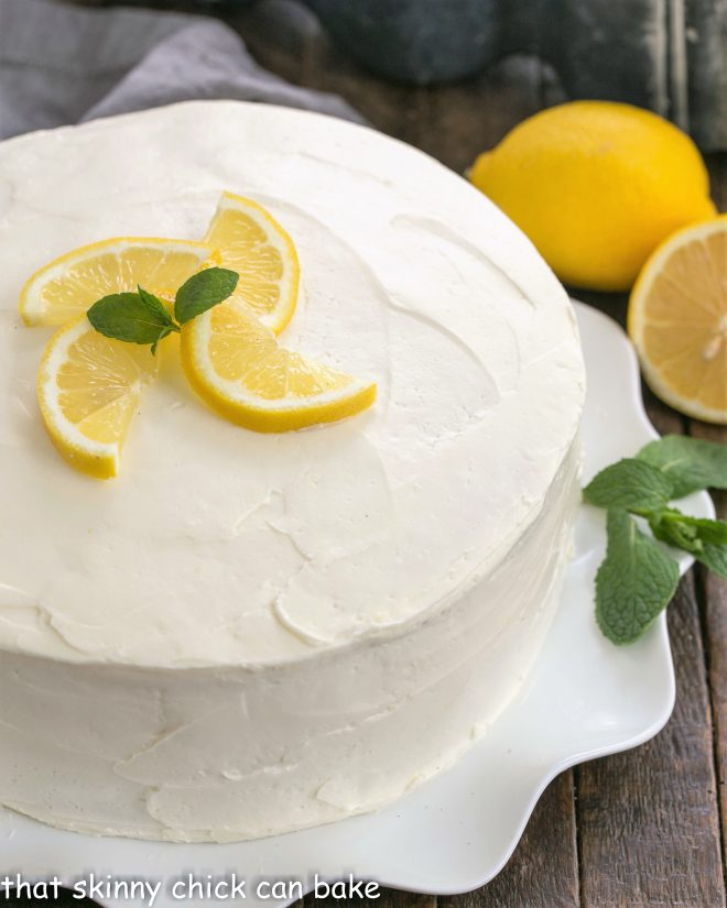 Overhead view of frosted lemon layer cake