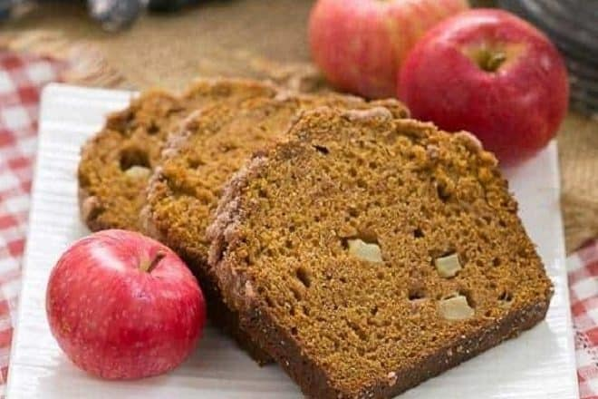 Slices of Pumpkin Bread with Apples on a square white plate