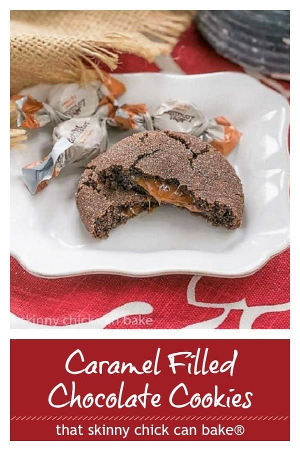 Caramel Filled Chocolate Cookies photo and text collage