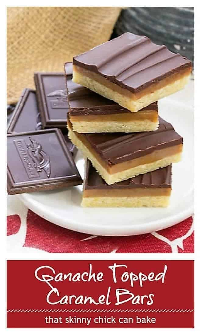 Ganache Topped Caramel Bars pin collage