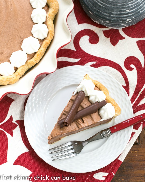 Classic French Silk Pie slice on a plate