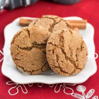 Chewy Gingersnaps on a square plate
