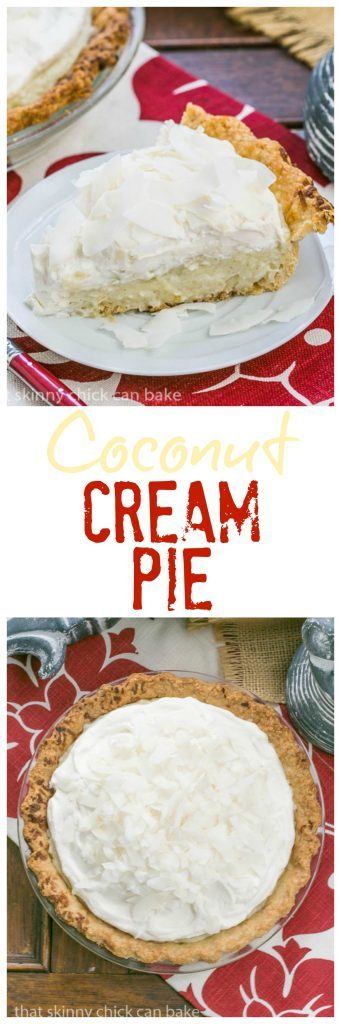 Coconut Cream Pie - Coconut crust filled with creamy coconut laden custard with a decadent whipped cream topping!