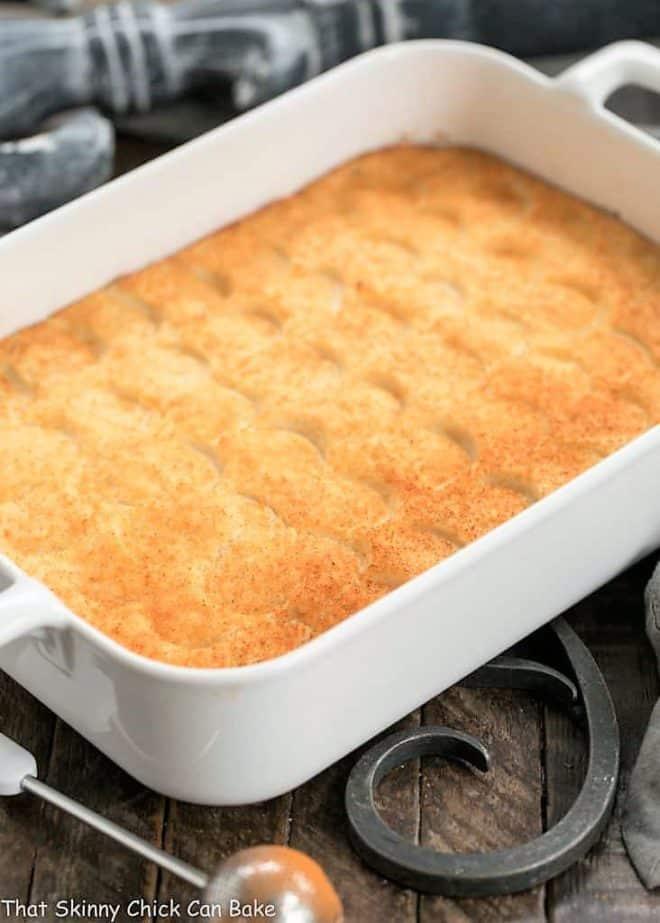 Easy Puffed Potatoes Casserole in a rectangular ceramic dish