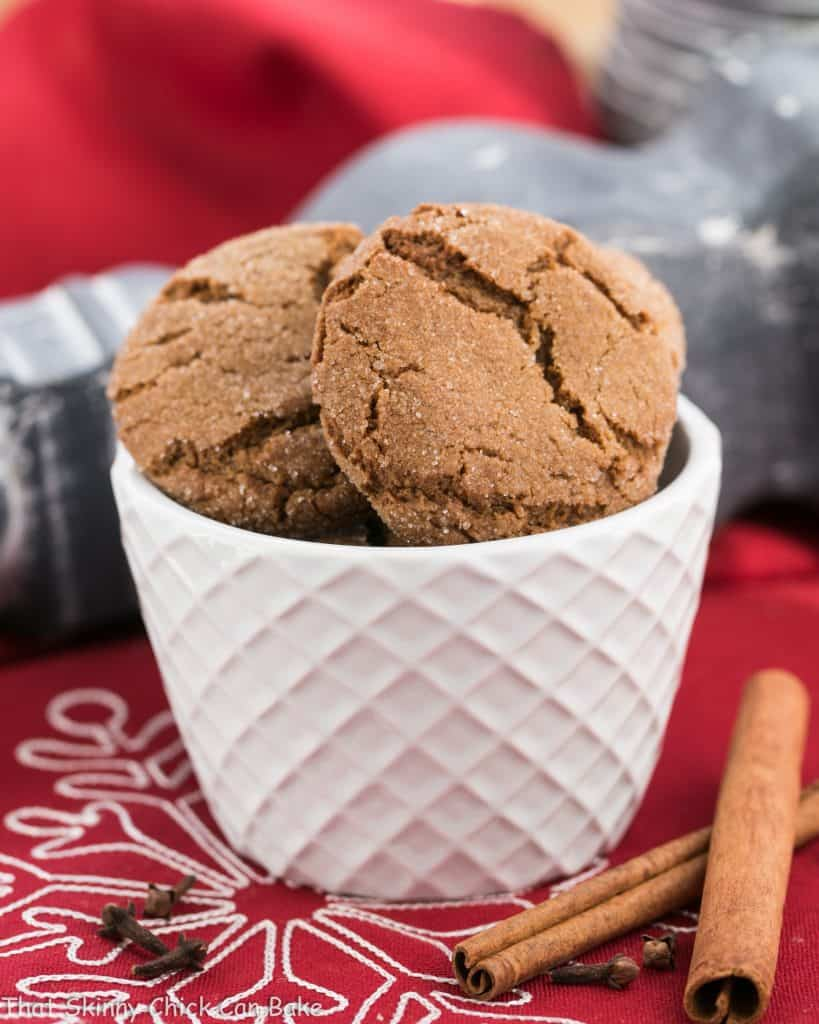 Chewy Gingersnaps in a white bowl