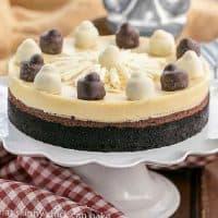 Layered Chocolate Cheesecake on a white cake stand