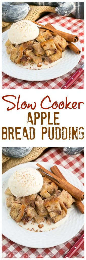 Slow Cooker Apple Pecan Bread Pudding | A nearly hands off way to make a delightful bread pudding dessert