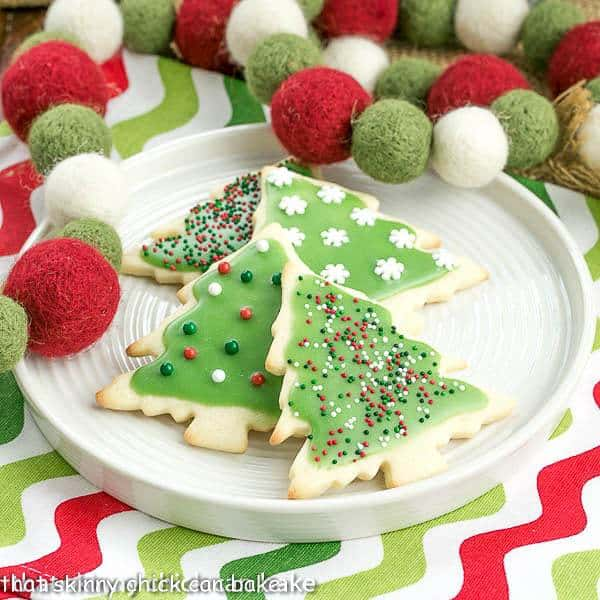Christmas Sugar Cookies on a round white plate