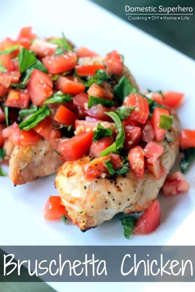Bruscetta Chicken on a white platter