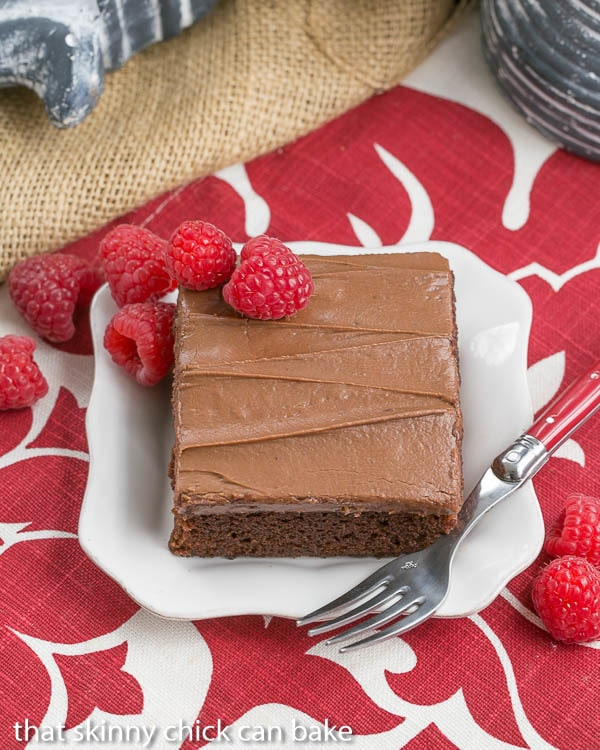 Overhead view of a slice of Chocolate Raspberry Snack Cake