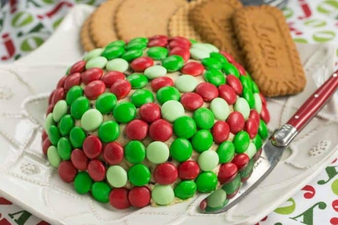 Cookie Dough Cheese Ball | A spectacular dessert cheese ball decked out for the holidays!
