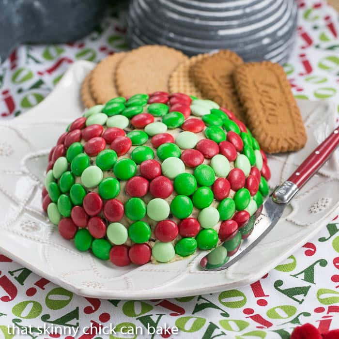 Cookie Dough Cheese Ball covered with holiday colored M & M's