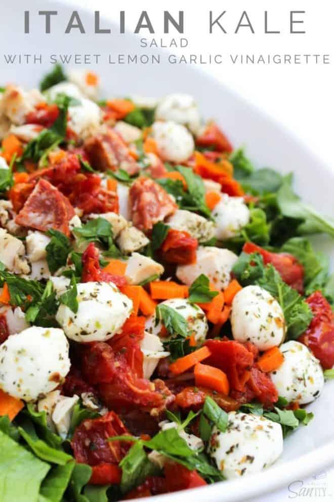 Italian kale salad on an oval white platter